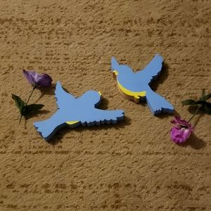 Handcrafted Wooden Pair of Bluebirds